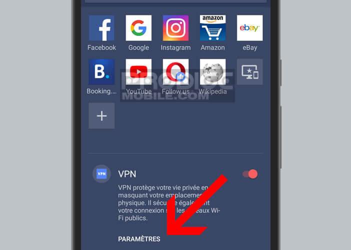 Accéder au menu des options du service VPN