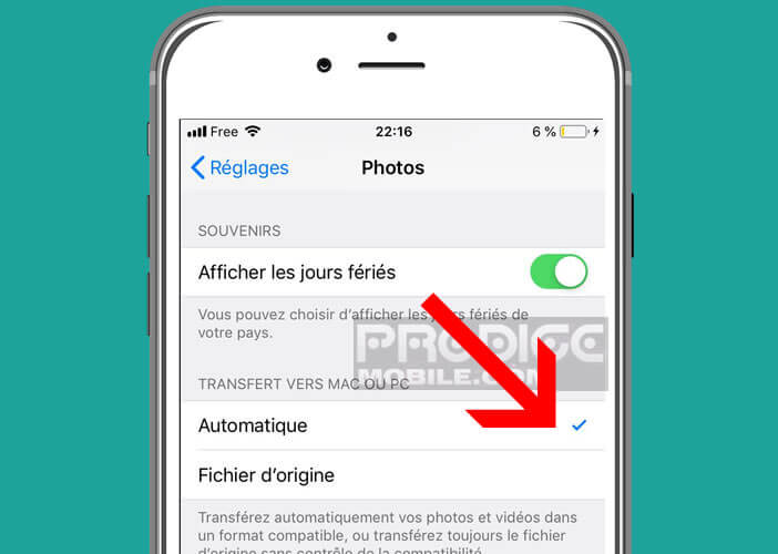 Forcer l'application photo en prendre les photos au format JPG