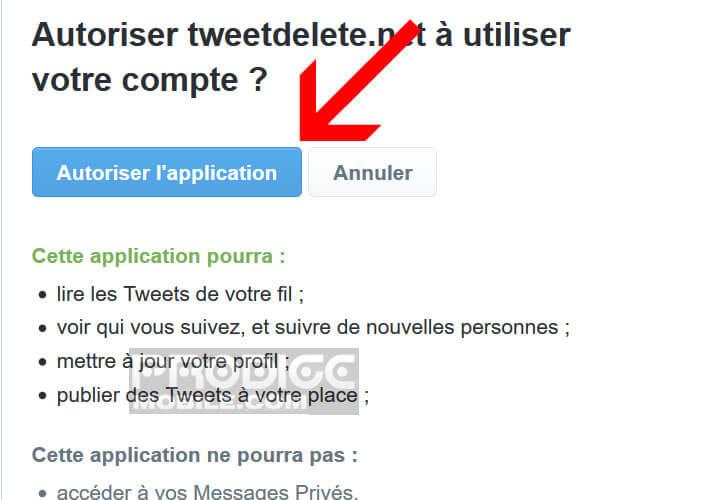 Autoriser le service TweetDelete à accéder vos posts