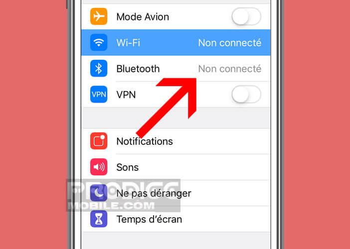 Non connecté indique que le Bluetooth est encore activé