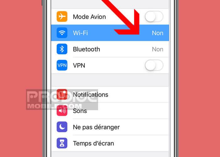 Vérifier les paramètres de connexion sans-fil sous iOS