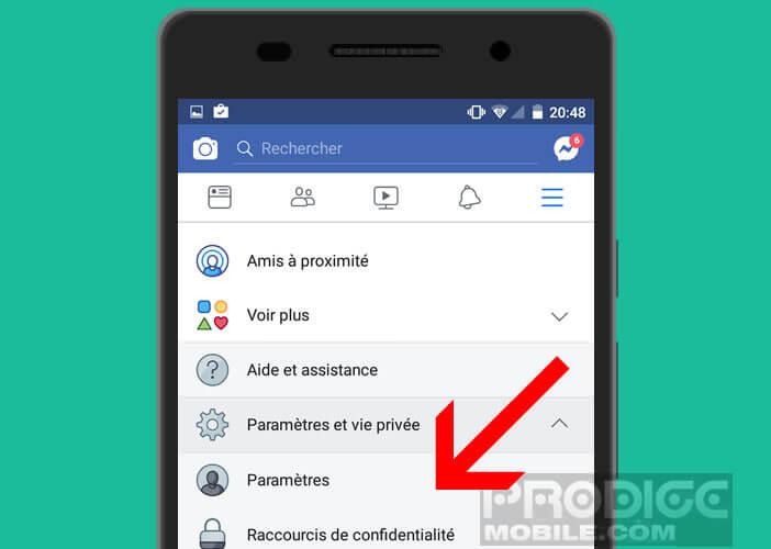 Assurer que personne n'utilise votre compte Facebook en allant dans les paramètres