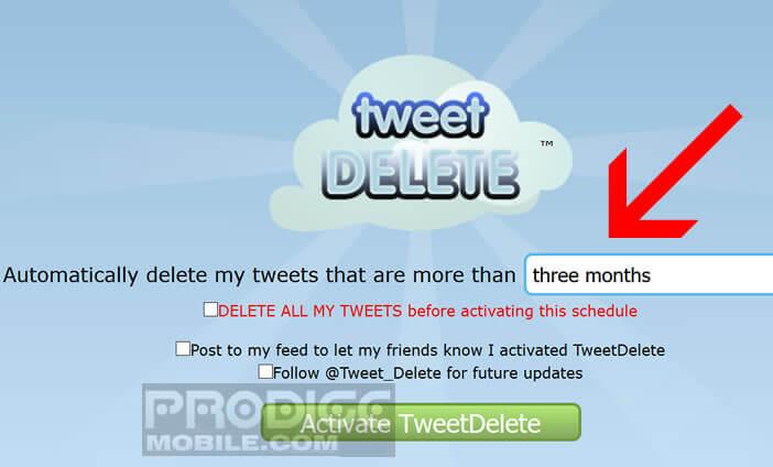 Activer la suppression automatique de tweets après une durée définie
