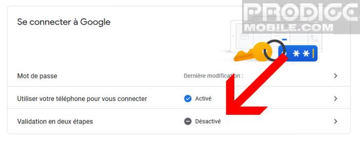 Activer la validation en deux étapes depuis les paramètres de son compte Google