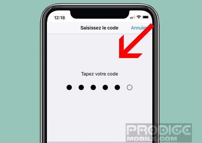 Accéder à la configuration de Touch ID