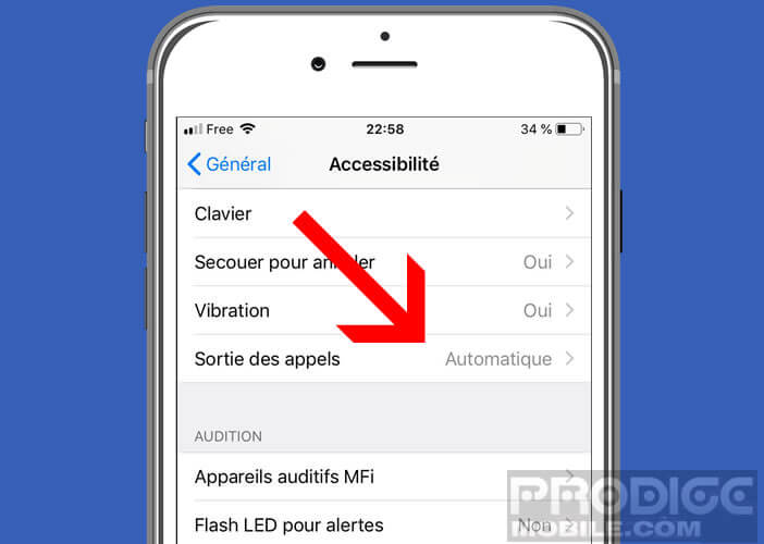 Activer le dispositif de décrochage automatique de l'iPhone