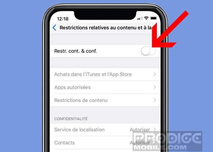 Activer l'option de restriction de contenu de l'appli Temps d'écran