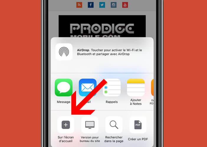 Ajouter une icône de raccourci sur l'écran d'accueil de votre smartphone Apple