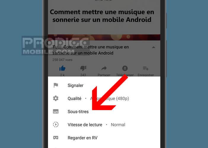 Afficher le panneau des paramètres de l'application YouTube