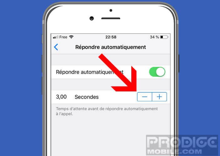 Choisir le temps d'attente avant que l'iPhone ne décroche l'appel