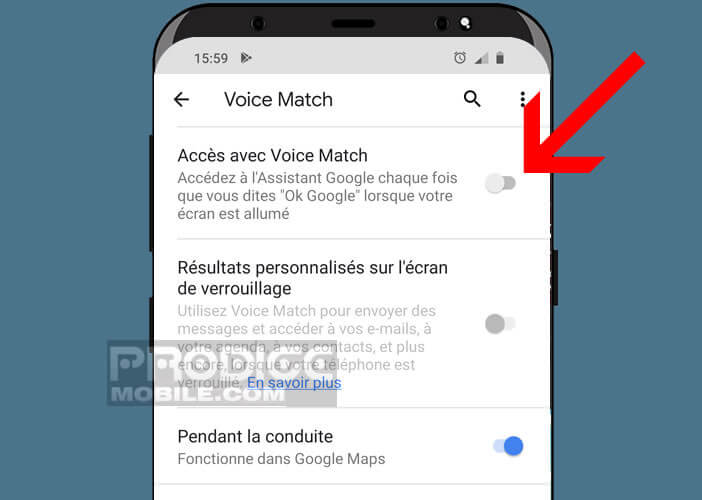 Autoriser le lancement de l'assistant virtuel à chaque fois que vous dîtes Ok Google