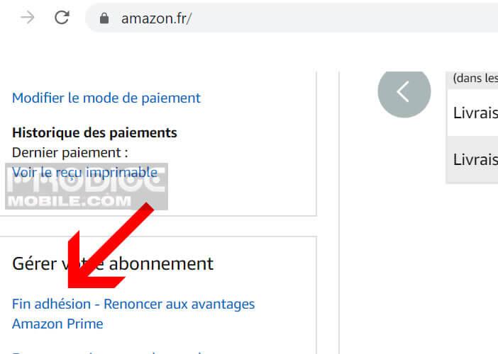 Mettre fin à l'adhésion Amazon Prime