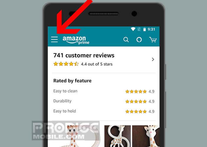 Afficher les menus des paramètres de l'application Amazon