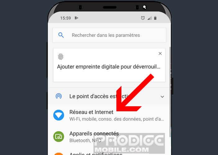 Accédez aux paramètres réseaux d'un appareil Android