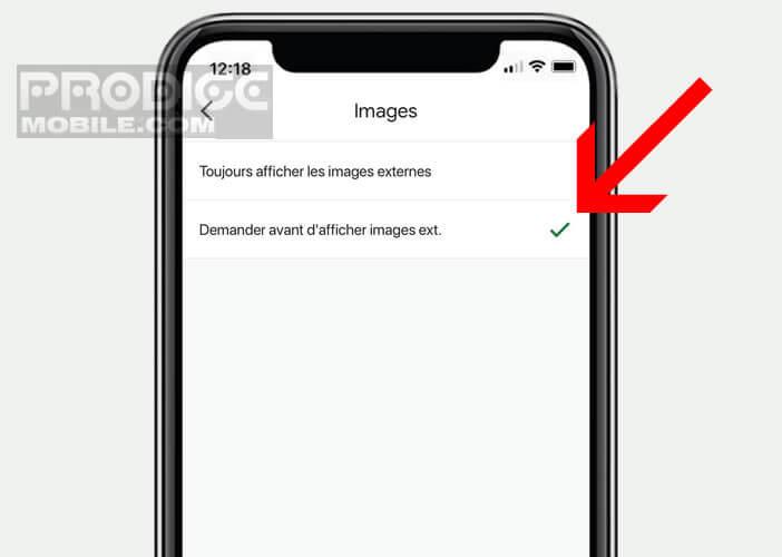 Désactiver l'affichage des photos présentes dans le corps d'un mail