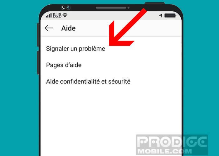 Signaler un problème à Instagram depuis l'application mobile