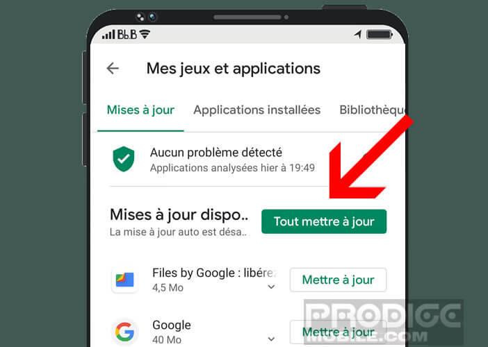 Mettre à jour manuellement tous les applications installées sur Android
