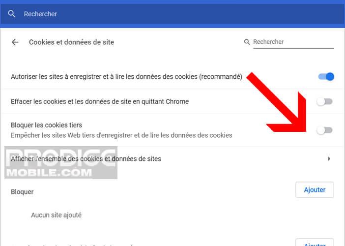 Interdire les cookies traceurs sur un navigateur pour Windows