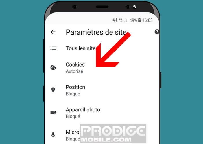 Modifier la gestion des cookies dans Chrome pour Android