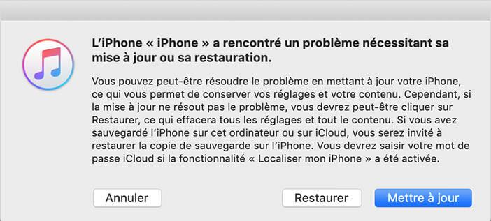 Restaurer un iPhone depuis iTunes pour le débloquer