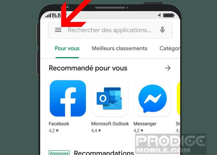 Accéder aux paramètres du Play Store depuis le bouton menu