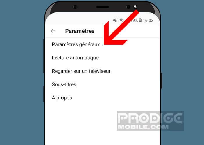 Modifier les paramètres généraux de l'application YouTube