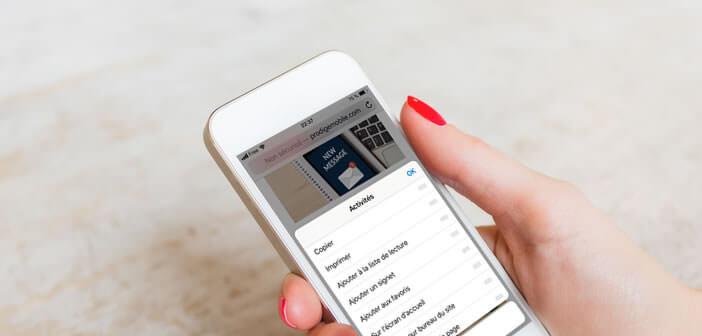 Modifier l'affichage du menu partage de l'iPhone