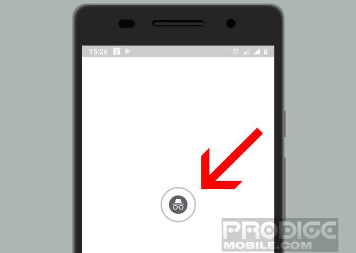 Affichage du logo incognito dans la fenêtre de l'appli GPS