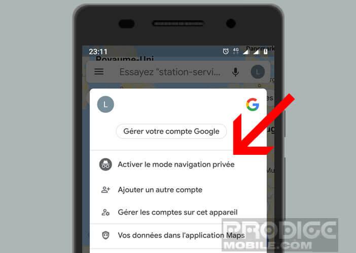 Activer la navigation privée de Google Maps