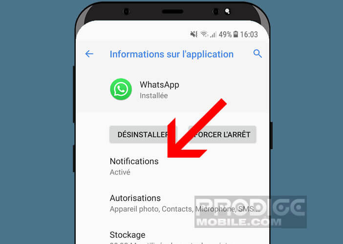 Modifier les options de notifications d'une application