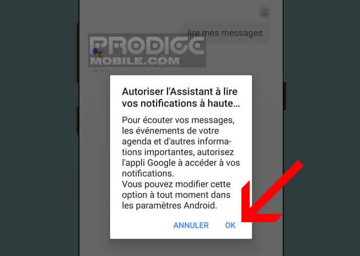 Autoriser Google Assistant d'accéder aux notifications de votre smartphone