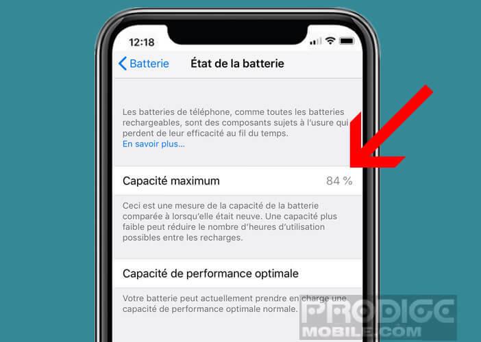 Visualiser la capacité maximale de la batterie de votre smartphone Apple