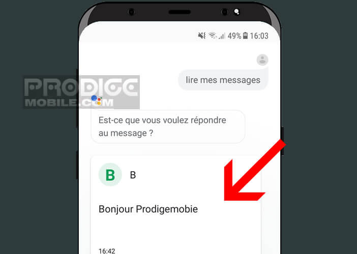 Google Assistant affiche les messages non lus sous forme de carte