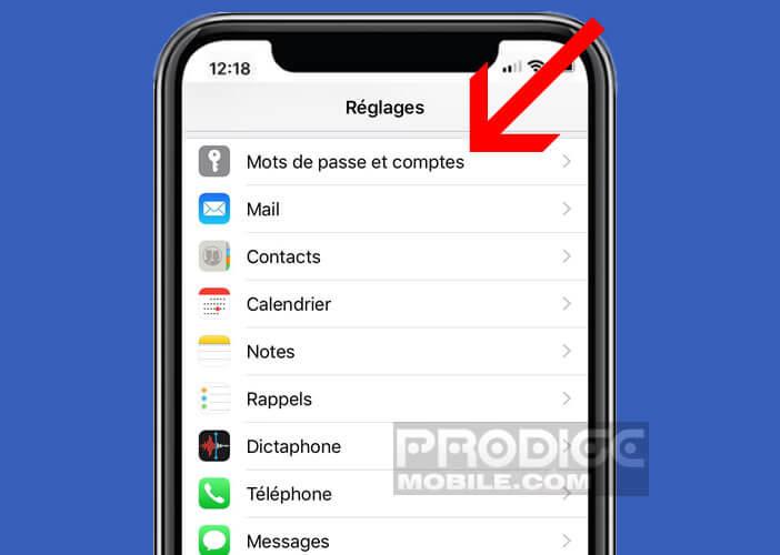 Gérer le compte Trousseau iCloud d'un smartphone Apple