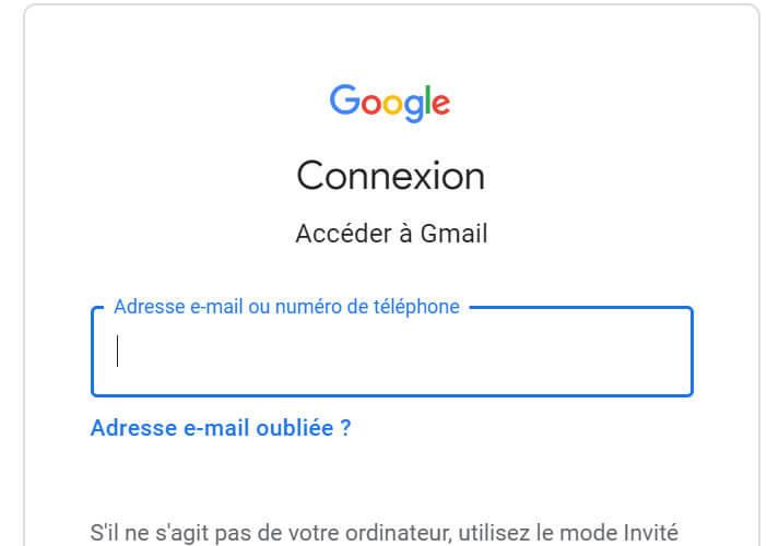 Saisir les identifiants de connexion de sa messagerie Gmail