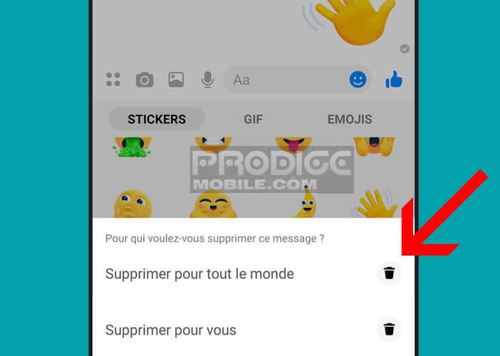 Effacer une bulle de discussion sur l'appli Messenger