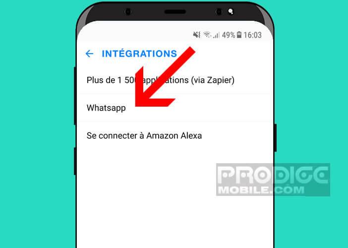 Configurer l'intégration WhatsApp et Any.do