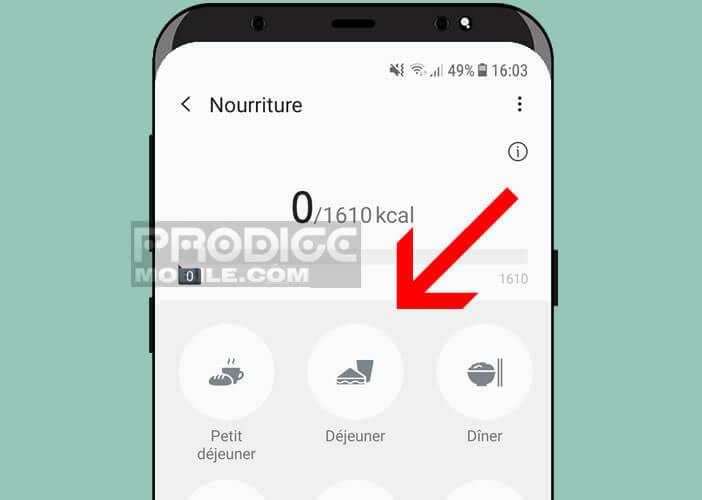 Paramétrer vos différents repas sur votre smartphone
