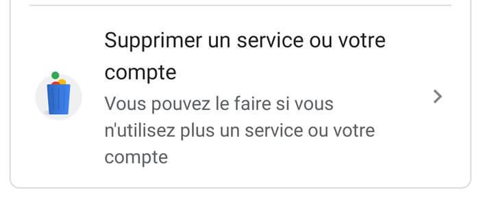 Supprimer un service ou un compte Google