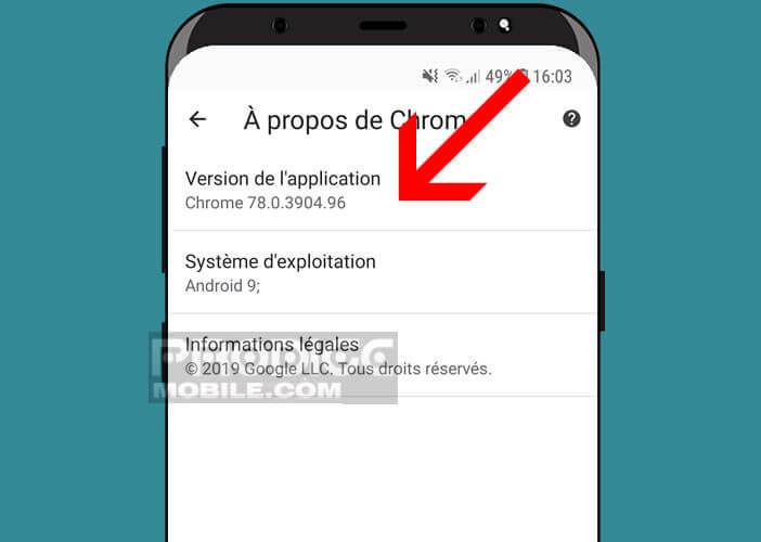 Vérifier la version de Google Chrome installée sur votre smartphone Android
