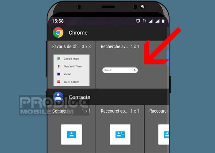 Le widget de la barre de navigation de Chrome sur mobile
