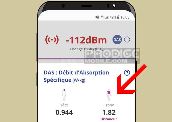 L'application Openbarres affiche le DAS de votre modèle de mobile