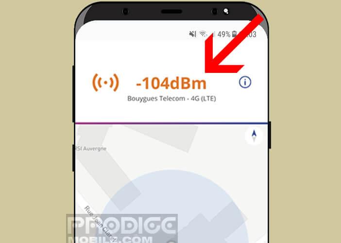 Calcul la force du signal du réseau de l'opérateur mobile