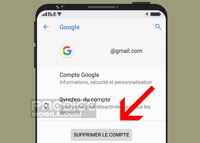 Désactiver le FRP en supprimant le compte Google précédemment configuré