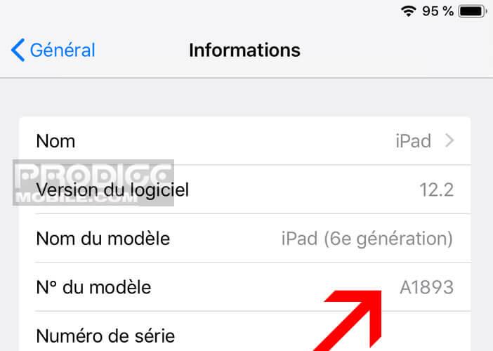 Retrouver dans les paramètres informations le numéro du modèle d'iPad