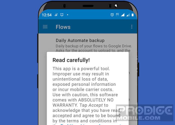 Message d'avertissement sur l'application Automate