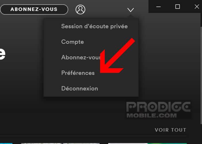 Ouvrir le menu Préférences de l'application Spotify