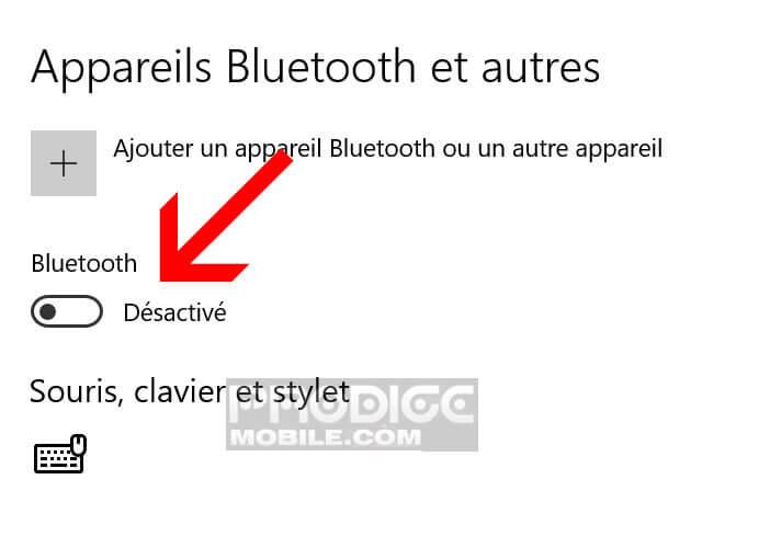 Activer la connexion Bluetooth depuis les paramètres de Windows