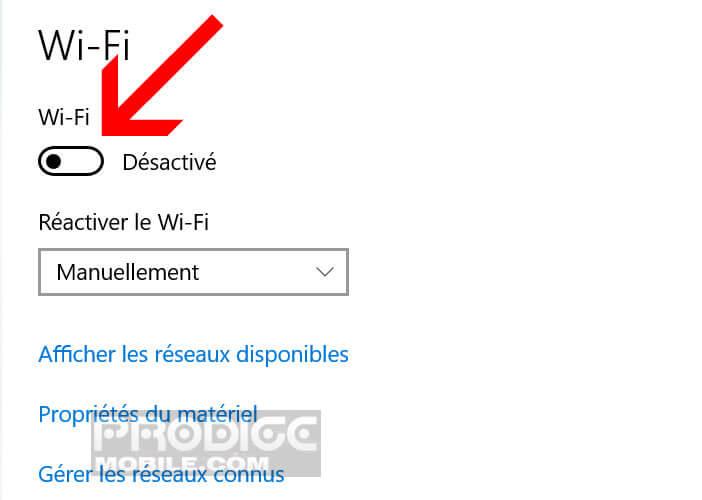 Activer l'interrupteur Wi-Fi dans le panneau de configuration de Windows