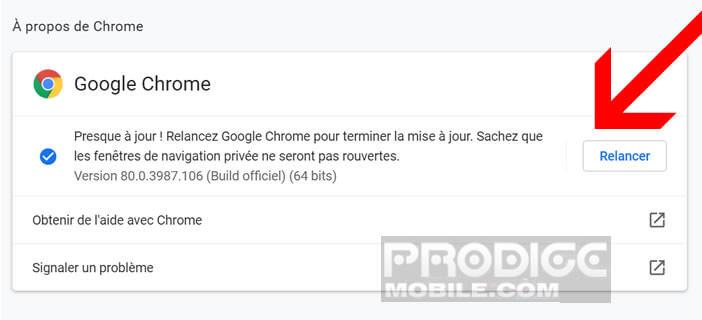 Mettre à jour votre navigateur web Google Chrome sur votre ordinateur